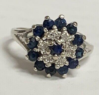 10k White Gold Blue Sapphire Diamond Ring In 2020 Blue Sapphire Diamond Ring Sapphire Diamond Ring Blue Sapphire Diamond