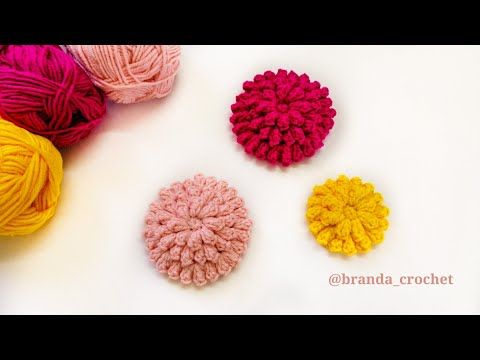 كروشيه ورده بغرزة الفشاره بوبكورن Crochet Flower With Popcorn Stitch Youtube Crochet Flowers Crochet Flowers