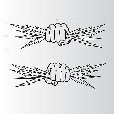 Fist Lightning Bolts Electrician Power Man Two Lineman Decals Stickers 13x3 5 In 2020 Lightning Bolt Tattoo Lightning Tattoo Bolt Tattoo