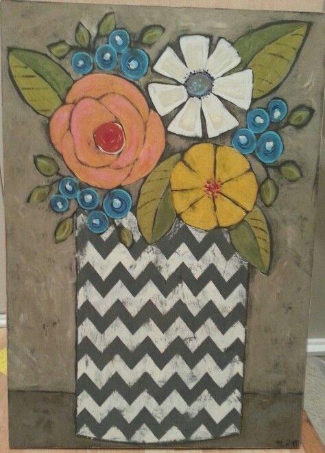 Chevron pot of flowers.original acrylic painting on wood.: