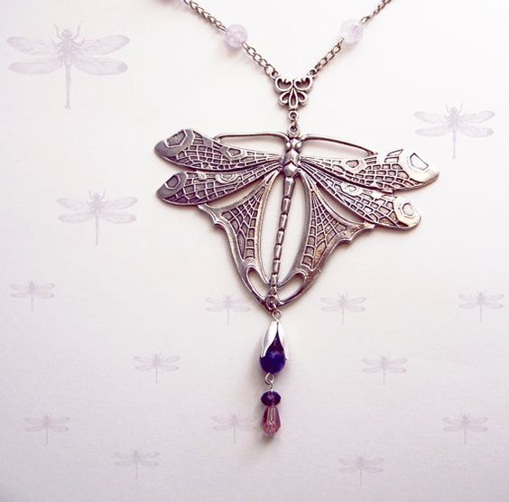 Statement Silver Dragonfly Necklace , Large Dragonfly necklace , Amethyst jewelry , Art Nouveau jewelry , Statement   #bLBride