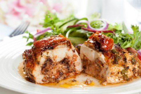 Mushroom And Tomato Stuffed Chicken