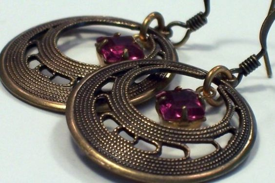 Round Fuschia Pink Antique Brass Earrings  Vintage by malves1009,