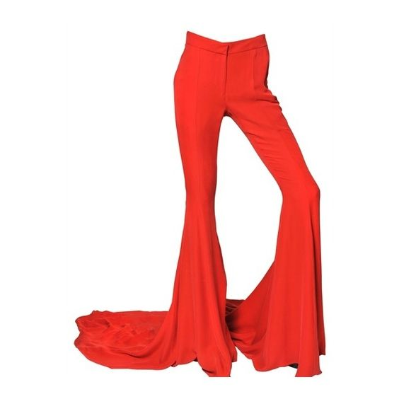 GARETH PUGH Silk Chiffon Long Train Trousers (€1.555) ❤ liked on Polyvore featuring pants, bottoms, red, trousers, doll legs, zipper pants, red trousers, red pants, zip pants and bell bottom pants