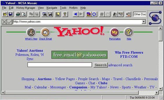 Yahoo! Portal in mosaic navigator, web design history | historia del diseño web, visita nuestro artículo relacionado en: http://www.dweb3d.com/blog/blogs/diseno-web-y-posicionamiento-seo/157-historia-del-diseno-web.html: