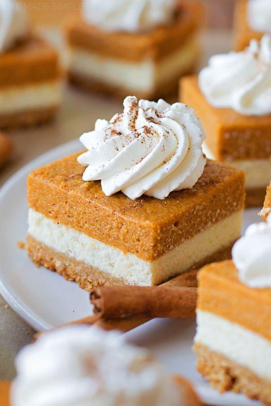Layered Pumpkin Pie Cheesecake Bars - Life Made Simple