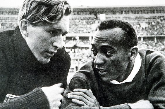 """The German silver medalist was the first to congratulate Owens and they took a lap of honour around the stadium together as the crowd rose to salute them both. """"It took a lot of courage for him to befriend me in front of Hitler,"""" said Owens later. """"You can melt down all the medals and cups I have and they wouldn't be a plating on the 24-carat friendship I felt for Luz Long at that moment."""""""