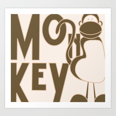 Monkey & Pink Art Print by Tamar Landau - $22.88
