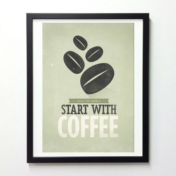 Coffee quote poster, Start with Coffee, Retro-style typographic print A3. $18.00, via Etsy.