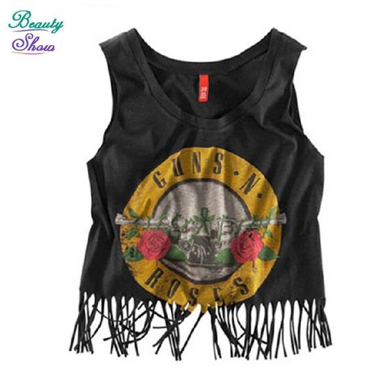 New Fashion 2015 Summer Letter Printed Women's T Shirt Tops Black Tshirt Tassel T Shirts Woman Clothes Sleeveless Crop Top