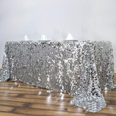90x132 Silver Big Payette Sequin Rectangle Tablecloth Premium In