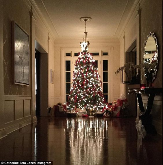 That's a big one:The Vogue cover girl also shared a photo of their large Christmas tree w...
