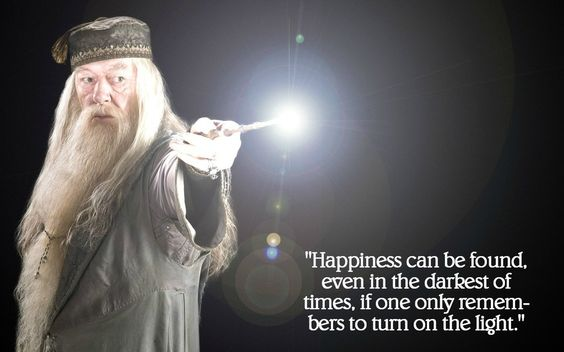 """""""Happiness can be found even in the darkest of times, if one only remembers to turn on the light."""" -- J.K. Rowling"""