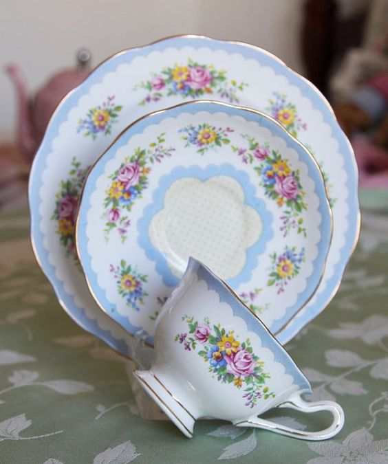 Vintage 3 Piece Lunch Set Royal Albert Crown China by Ariamel, $60.00