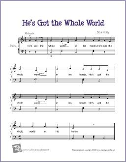 He's Got the Whole World (Bible Song)   Free Sheet Music for Easy Piano
