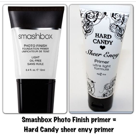 Hard Candy Sheer Envy Primer ($8.00 at Walmart) is a perfect dupe for the Smash Box Photo Finish Primer (36.00 at Sephora)