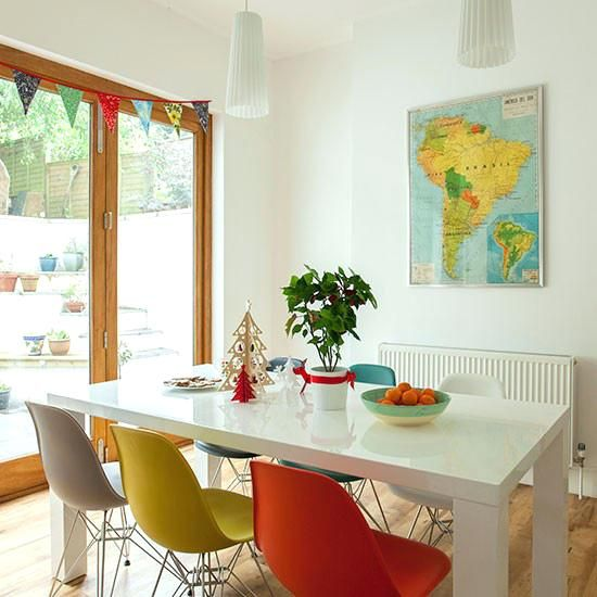 Image Result For White Table Different Color Chairs Orange Legs White Dining Room Dining Room Chairs Colored Dining Chairs