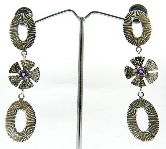 solid 925 silver nepali dangle design Amethyst gemstone new earring pair jewelry #Magicalcollection #ChainLink