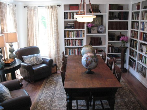 Dining room office homework and offices on pinterest for Dining room library