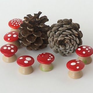 Use plain wooden drawer pulls to make mushrooms for the fairy garden.: