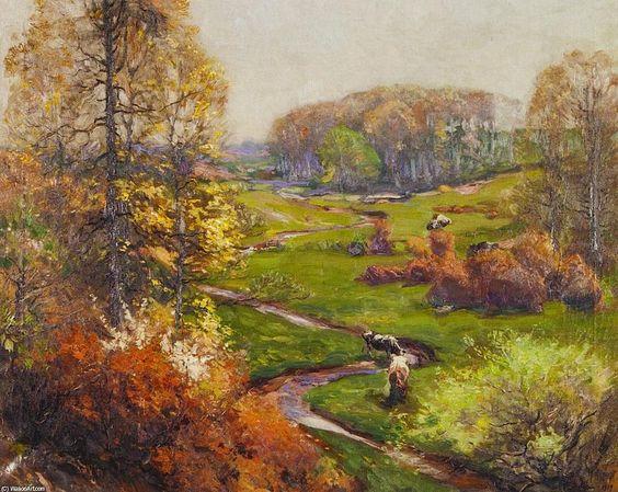 Paysage de printemps avec des cours d eau sinueux et vaches, huile sur toile de Mathias J Alten (1871-1938, United States)