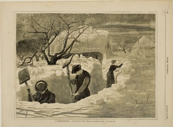 Winslow Homer, A Winter Morning - Shovelling Out, from Every Saturday, January 14, 1871, Harvard Art Museums/Fogg Museum.