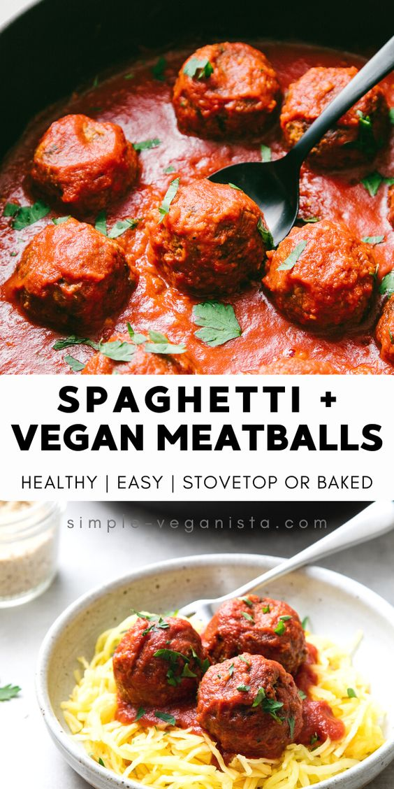 Spaghetti + Italian Vegan Meatballs - The Simple Veganista