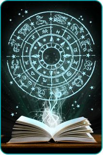 An open book with an illustrated zodiac wheel above it