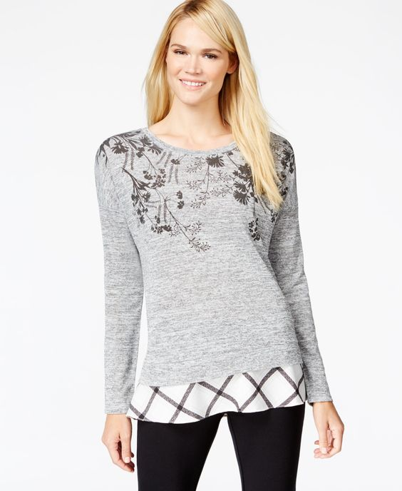 Style & Co. Printed Layered-Look Sweater, Only at Macy's