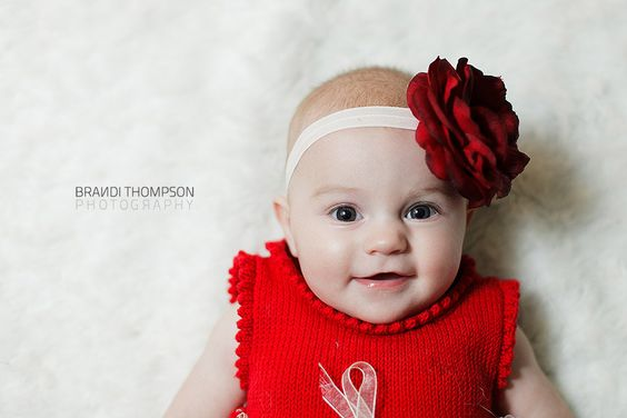 Deep red flower on soft white elastic stretch by LittleMagpieBows, $7.50