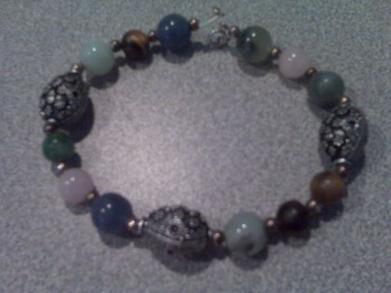 Natural stones and sterling silver bracelet