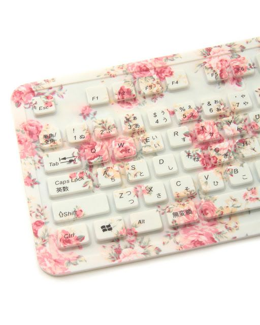 Shabby chic rose covered keyboard!