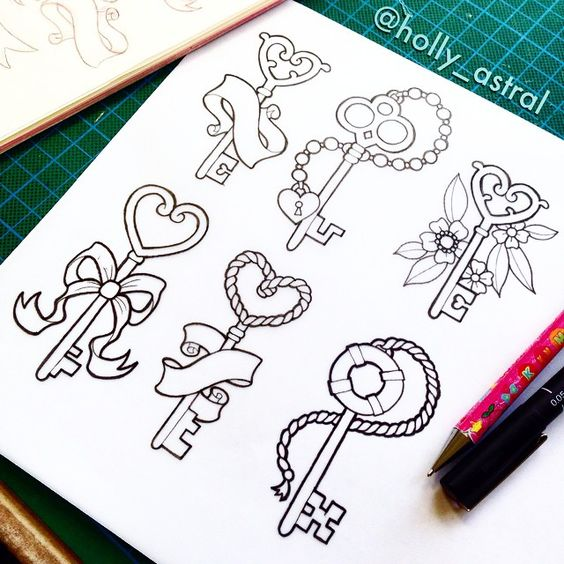 Drawing some girly key designs For more of my tattoo work follow @holly_astral on Instagram or http://holly-astral.tumblr.com/