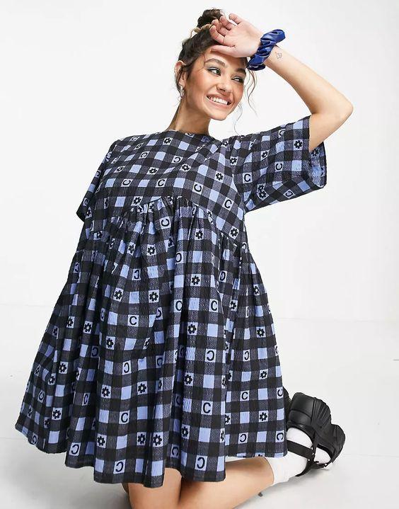 COLLUSION seersucker gingham mini smock dress in blue print