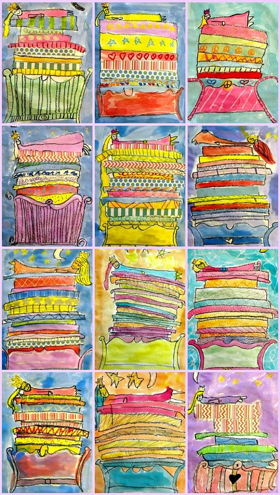 princess and the pea art - this is a great site with all types of art lessons for children (and their not so artistic parents). All the Princess and the Pea mattresses shown in this thumbnail are done by a group of average third-graders who followed her lead! <3