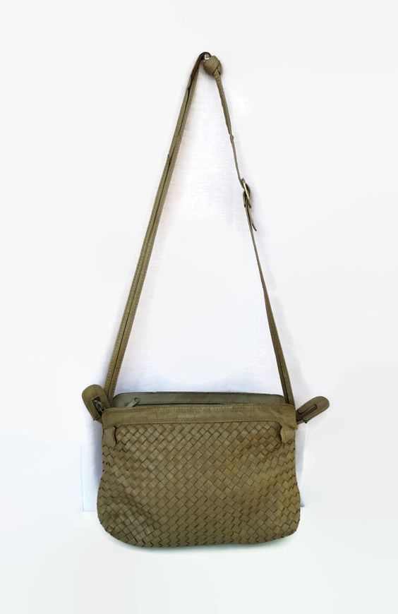 Woven Leather Purse Bag Vintage 80's Shoulder Bag Putty Gray ...