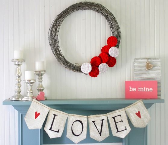 Love the giant wreath and how this Valentine's Day Mantle is simple, yet lovely! from @Gina @ Shabby Creek Cottage: