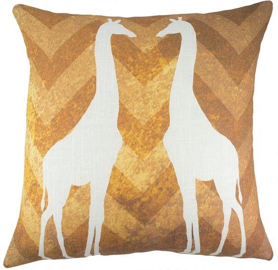 Giraffe Cotton Throw Pillow