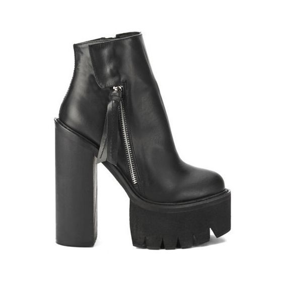 Jeffrey Campbell Women's Lynch Chunky Sole Heeled Ankle Boots (925 ARS) ❤ liked on Polyvore featuring shoes, boots, ankle booties, heels, black, high heel booties, black leather boots, high heel ankle booties, black platform boots and black booties