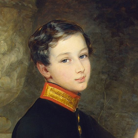 detail:  Children with a Parrot by Christina Robertson 1850: