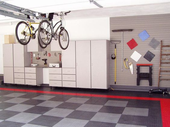Garage Interior Design Ideas for Your Lovely Motors : Great Multipurpose Garage Interior Design With Grey Flooring Unit