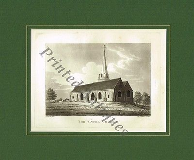 Old Antique Aquatint Etching Print of Catel Church Guernsey Channel Isles 1815