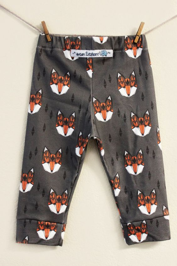 100 Organic Geometric Fox Baby Boy Leggings by DreamElephant - fox print by Andrea Lauren