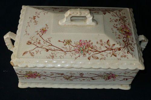 C 1850 Minton Staffordshire Creamware Floral & Branch Transferware Covered Dish