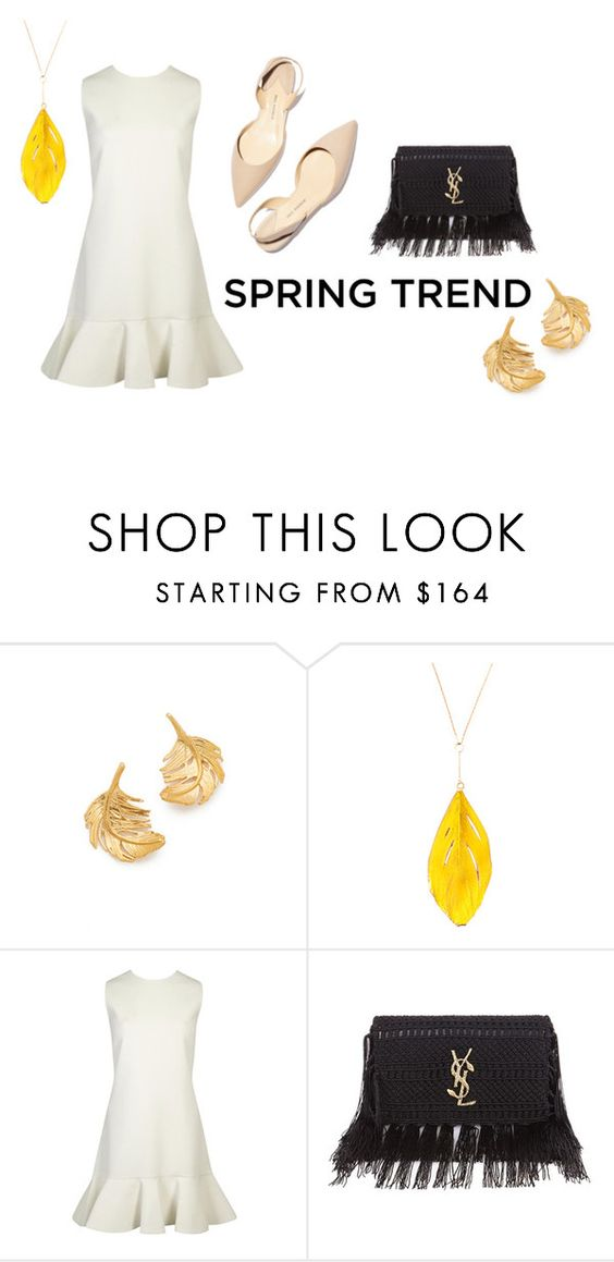 """You Can't Ruffle My Feathers"" by kristenleighw ❤ liked on Polyvore featuring Alex Monroe, Aurélie Bidermann, Victoria, Victoria Beckham, Paul Andrew, Yves Saint Laurent, outfit, white, ruffles and feathers"