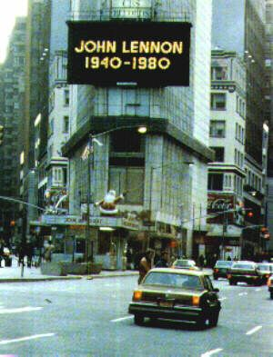 Times Square Sign Dec 9, 1980 New York City, New York as the world mourns the loss of John Lennon