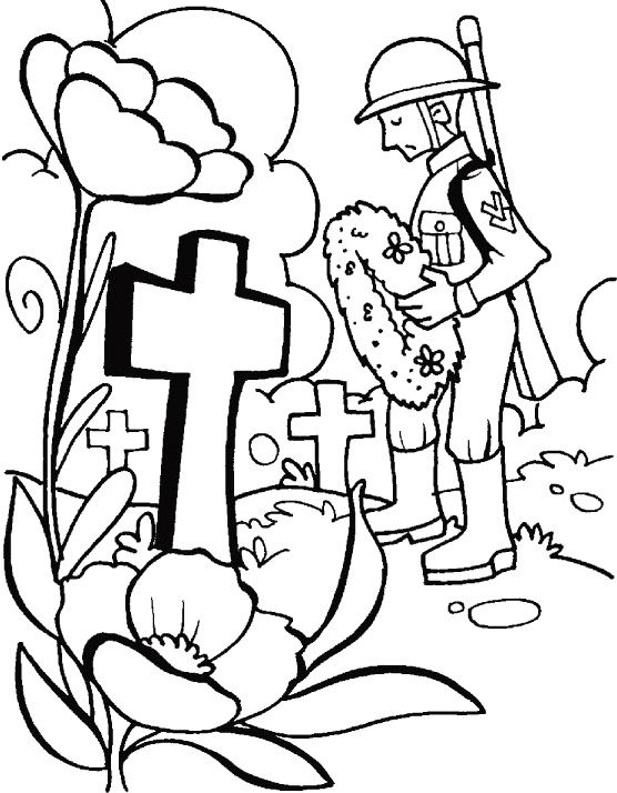Remembrance Day Military Coloring Page Poppy Coloring Page