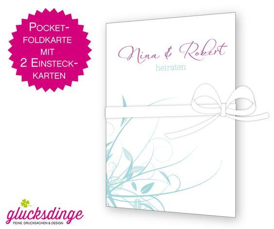 ♥ POCKETFOLD HOCHZEITSEINLADUNG ♥ Gräser + Umsc... von j-designerie - FEINE DRUCKSACHEN auf DaWanda.com