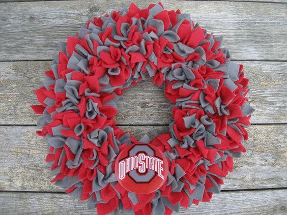 "15"" Handmade Fleece Rag Wreath --- The Ohio State University Buckeyes. $50.00, via Etsy."