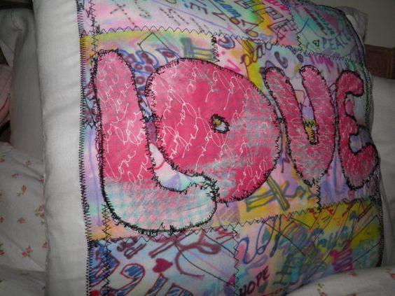 Love Pillow Patchwork Graffiti  Mixed Media by SherisShoppe, $45.00
